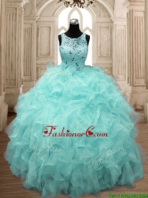 See Through Scoop Beading and Ruffles Quinceanera Dress in Aqua Blue SWQD138-2FOR