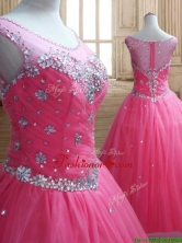 See Through Scoop Rose Pink Quinceanera Dress with Beading SWQD154FOR