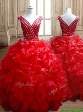Sexy Deep V Neckline Red Quinceanera Dress with Beading and Ruffles SWQD151FOR