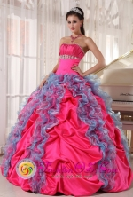 Sotara Colombia Multi-color Wholesale Quinceanera DressBeading and Ruffles Decorate Organza and Taffeta in 2013 Spring Style Style PDZY532FOR