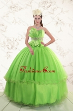 Spring Green  2015 Sweetheart Quinceanera Dresses with Beading and Bowknot XFNAO785FOR