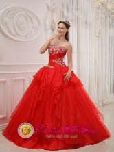 Summer Appliques Modest Red Gorgeous Quinceanera Dress For 2013 San Pedro Colombia Strapless Taffeta and Organza Ball Gown Style QDZY526FOR