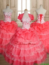Sweet Beaded and Ruffled Layers Quinceanera Dress in Coral Red SWQD147FOR