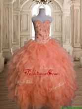 Unique Big Puffy Orange Red Quinceanera Dress with Beading and Ruffles SWQD142-1FOR