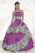 Unique Purple Quinceanera Dresses with Embroidery and Zebra XFNAO5794FOR