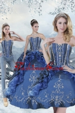 Wonderful Blue Sweet 15 Dresses with Embroidery and Beading for 2015 XFNAOA62TZA1FOR
