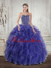 Wonderful Royal Bule Quince Dresses with Beading and Ruffles for 2015 XFNAO7751TZFXFOR