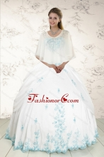 Wonderful Strapless Appliques 2015 Quinceanera Dresses in White XFNAO093BFOR