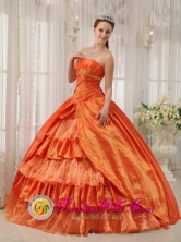 2013 Rio de Jesus Panama Orange Red Ruffles Layered Quinceanera Dresses With Appliques and Ruch In Michigan Style QDZY272FOR