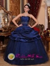 2013 Summer Navy Blue Strapless Tulle and Taffeta Pick-ups Beading and Ruch Quinceanera Dress Chigore Panama Style QDLMYYUKFOR