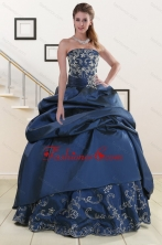 2015 Custom Made Embroidery and Beaded Quinceanera Dresses in Navy Blue XFNAO5926FOR