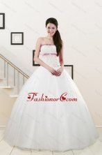 2015 Discount Strapless Appliques and Belt Quinceanera Dresses in White XFNAO002FOR