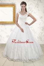 2015 Discount Straps Quinceanera Dresses with Appliques and Beading XFNAO101FOR