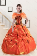 2015 Exclusive Appliques Quinceanera Dresses in Orange Red and Black XFNAO035AFOR