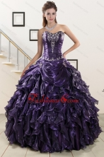 2015 Exquisite Sweetheart Purple Quinceanera Dresses with Appliques XFNAO020FOR