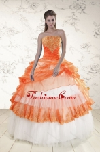2015 Perfect Strapless Appliques and Beaded Quinceanera Dresses in Orange XFNAO564FOR