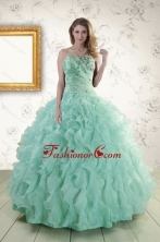 2015 Pretty Sweetheart Beading Quinceanera Dresses in Apple Green XFNAO663FOR
