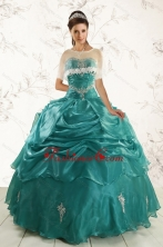 2015 Pretty Sweetheart Organza Appliques Sweet 16 Dresses XFNAO006AFOR