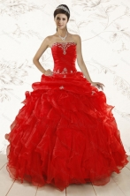 2015 Red Ball Gown Strapless Sweet 15 Dresses with Beading and Ruffles XFNAO031FOR