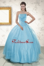 2015 Strapless Beading Affordable Quinceanera Dresses in Baby Blue XFNAO046FOR