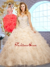2016 Beautiful Ball Gown Champagne Sweet 16 Dresses with Beading and Ruffles SJQDDT377002-2FOR