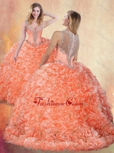 2016 Beautiful Straps Brush Train Quinceanera Dresses with Ruffles and Appliques SJQDDT421002FOR