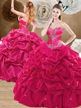 2016 Discount Brush Train Hot Pink Sweet 16 Dresses with Pick Ups SJQDDT475002FOR
