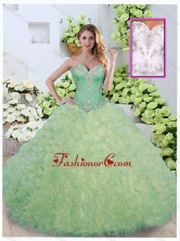 2016 Fashionable Ball Gown Beading and Ruffles Quinceanera Dresses  SJQDDT356002FOR