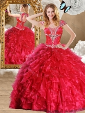 2016 Fashionable Red Quinceanera Gowns with Beading and Ruffles SJQDDT470002-3FOR