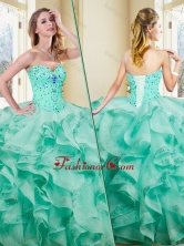 2016 Lovely Ball Gown Appliques and Ruffles Turquoise Sweet 16 Dresses SJQDDT363002-1FOR