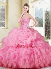 2016 Lovely Ball Gown Rose Pink Quinceanera Dresses with Ruffles and Pick Ups SJQDDT371002-1FOR