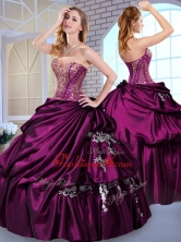 2016 Luxurious Ball Gown Taffeta Dark Purple Quinceanera Dresses with Pick Ups QDDTI1002-1FOR