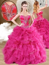 2016 New Style Ball Gown Fuchsia Sweet 16 Dresses with Ruffles QDDTA119001FOR