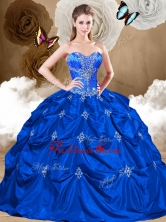 2016 Perfect Sweetheart Quinceanera Gowns with Appliques and Pick Ups QDDTR1002FOR