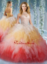 2016 Pretty Halter Top Rainbow Sweet 16 Dress with Beading and Ruffles SJQDDT527002FOR