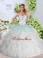 2016 Simple Sweetheart White Quinceanera Gowns with Appliques and Ruffles SJQDDT367002FOR