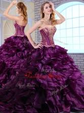 2016 Wonderful Brush Train Dark Purple Sweet 16 Dresses with Ruffles and Appliques  QDDTM1002FOR