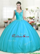 Affordable Aqua Blue Tulle Quinceanera Dress with Beading YYPJ053-1FOR