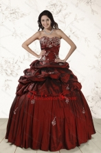 Appliques 2015 Wine Red Quinceanera Dresses with Lace Up XFNAO036FOR