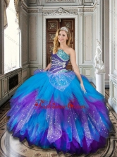 Baby Blue and Purple Sweet 16 Dress with Beading and Ruffles XFQD1023FOR