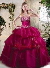 Beautiful Ball Gown Sweet 16 Gowns with Beading and Pick Ups SJQDDT397002-1FOR