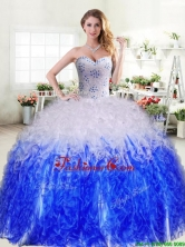Best Selling Really Puffy Quinceanera Dress in Royal Blue and White YYPJ033-2FOR