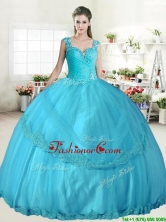 Best Straps Beaded and Applique Quinceanera Dress in Aqua Blue YYPJ043-1FOR