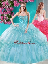 Big Puffy Ruffled Turquoise Quinceanera Dresses with Beaded Bodice SJQDDT665002FOR