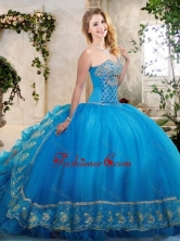 Big Puffy Teal Sweet 16 Dress with Beading and Appliques XFQD1055FOR