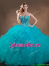 Big Puffy Teal Sweet 16 Gown with Beading and Ruffles SWQD050MT-7FOR