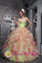 Capeti Panama Waving tucks strapless Flower Decorate Multi-color For Sweet 16 Dress In 2013 Quinceanera Style ZYLJ07FOR