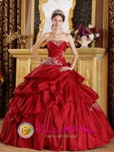Chigore Panama Red Quinceanera Dress Appliques and Ruched Bodice For Strapless  With  Pick-ups Style QDZY215FOR