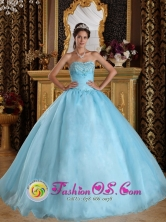 Chiriqui Panama Customize Aqua Blue For Beautiful Quinceanera Dress With Sweetheart Organza Beading ball gown Style QDZY356FOR