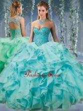 Classical Beaded and Applique Big Puffy Sweet 16 Dress in Aqua BlueSJQDDT572002FOR